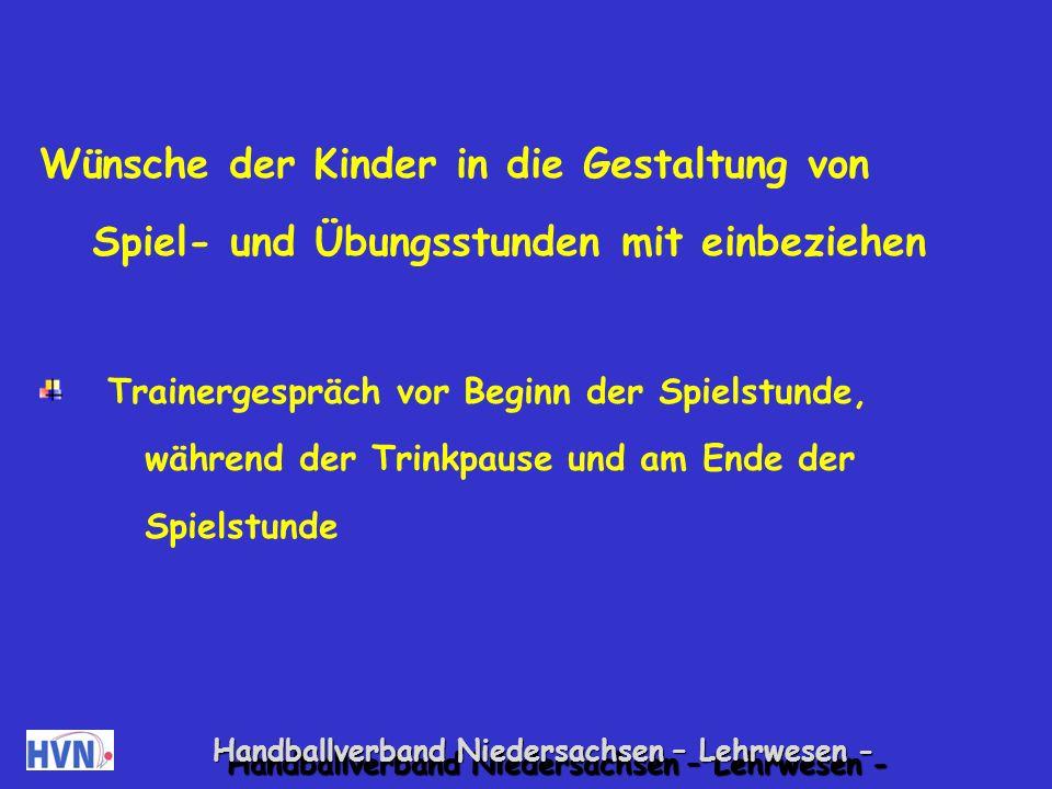 Handballverband Niedersachsen – Lehrwesen - Kindern im Training Verantwortung übertragen.