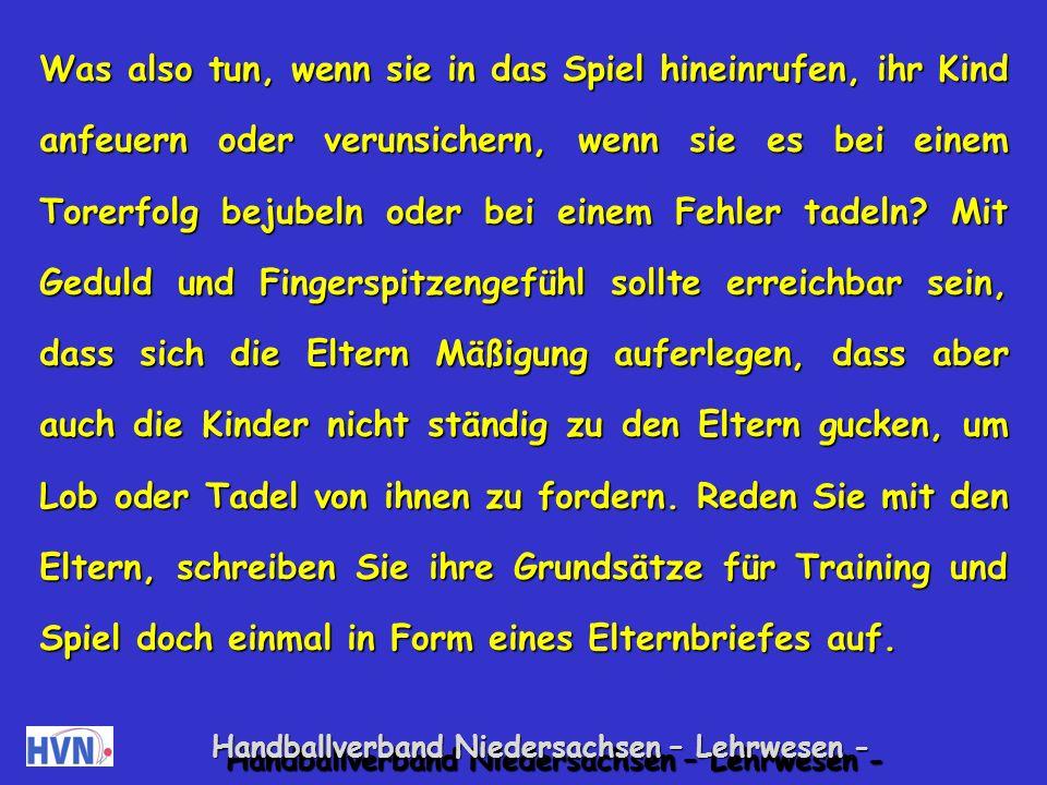 Handballverband Niedersachsen – Lehrwesen - Mit Kritik der Eltern sorgfältig umgehen.