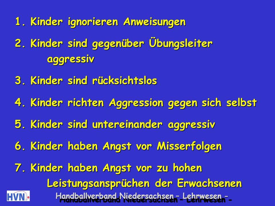 Handballverband Niedersachsen – Lehrwesen - 20 mögliche Auffälligkeiten und der Versuch gegenzusteuern