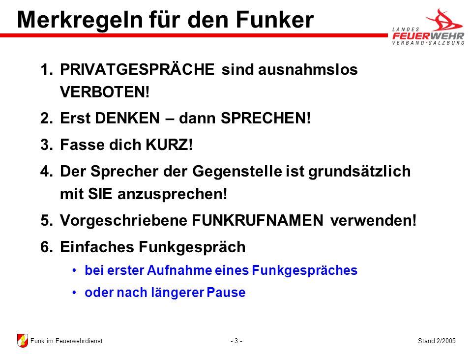 - 14 -Stand 2/2005Funk im Feuerwehrdienst Sammelruf Eine Funkstelle (z.B.