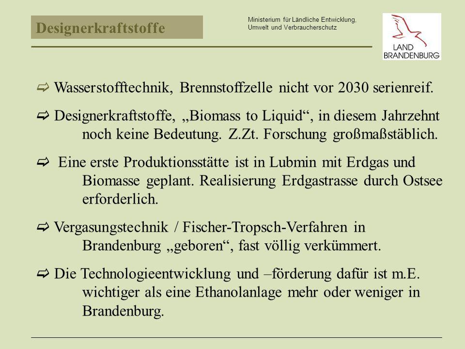 Ministerium für Ländliche Entwicklung, Umwelt und Verbraucherschutz Wasserstofftechnik, Brennstoffzelle nicht vor 2030 serienreif.