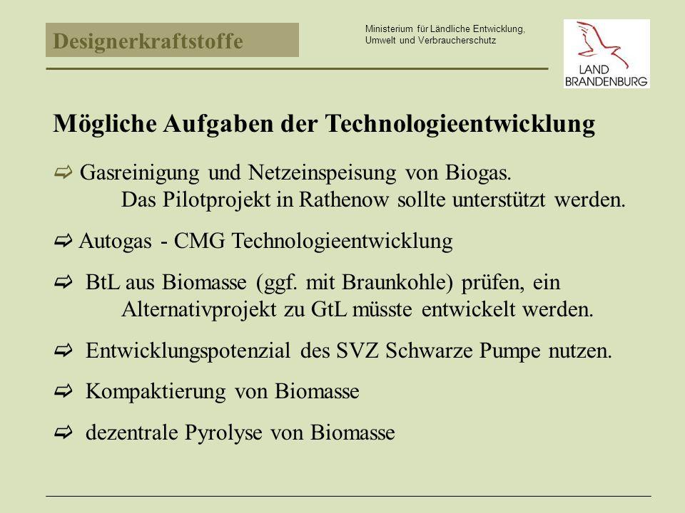 Designerkraftstoffe Ministerium für Ländliche Entwicklung, Umwelt und Verbraucherschutz Gasreinigung und Netzeinspeisung von Biogas.