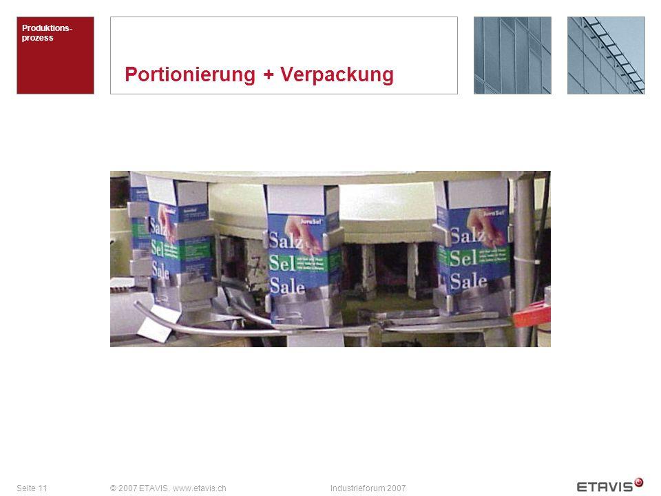 Seite 11© 2007 ETAVIS, www.etavis.chIndustrieforum 2007 Portionierung + Verpackung Produktions- prozess