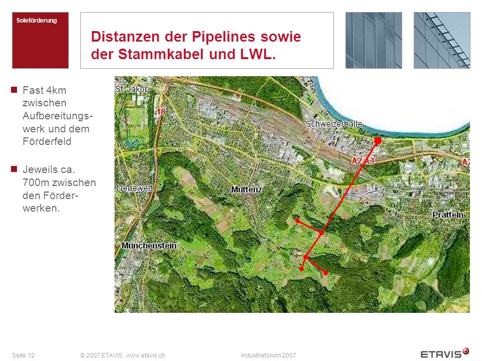 Seite 12© 2007 ETAVIS, www.etavis.chIndustrieforum 2007 Distanzen der Pipelines sowie der Stammkabel und LWL. Soleförderung Fast 4km zwischen Aufberei