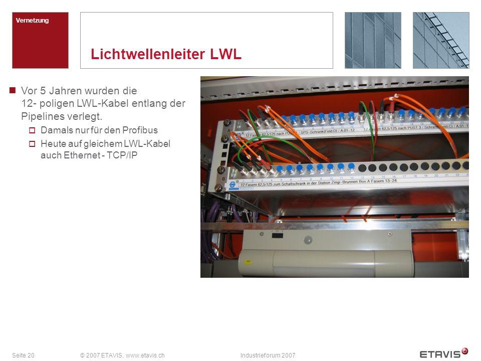 Seite 20© 2007 ETAVIS, www.etavis.chIndustrieforum 2007 Lichtwellenleiter LWL Vernetzung Vor 5 Jahren wurden die 12- poligen LWL-Kabel entlang der Pip