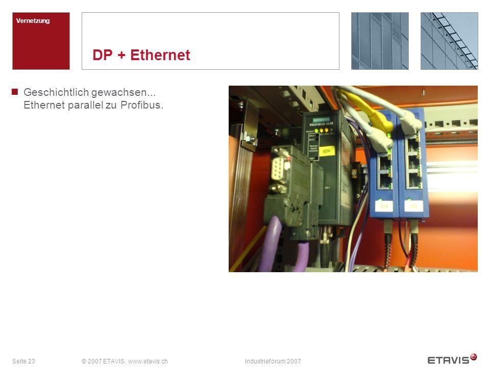 Seite 23© 2007 ETAVIS, www.etavis.chIndustrieforum 2007 DP + Ethernet Vernetzung Geschichtlich gewachsen... Ethernet parallel zu Profibus.