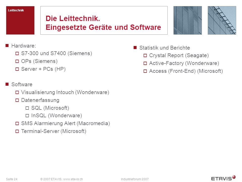 Seite 24© 2007 ETAVIS, www.etavis.chIndustrieforum 2007 Die Leittechnik. Eingesetzte Geräte und Software Leittechnik Hardware: S7-300 und S7400 (Sieme