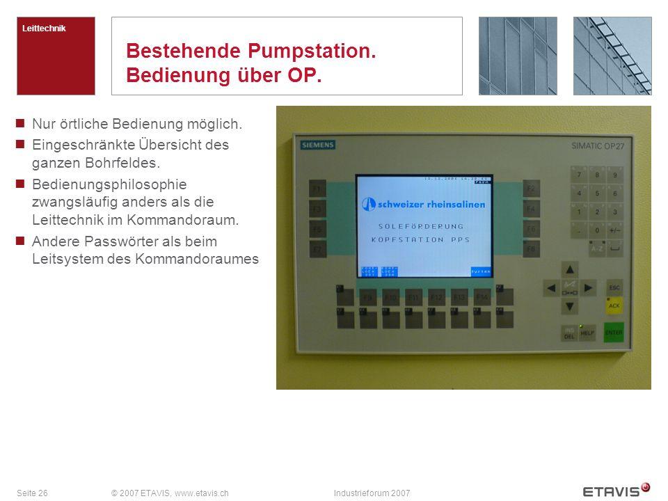 Seite 26© 2007 ETAVIS, www.etavis.chIndustrieforum 2007 Bestehende Pumpstation. Bedienung über OP. Leittechnik Nur örtliche Bedienung möglich. Eingesc