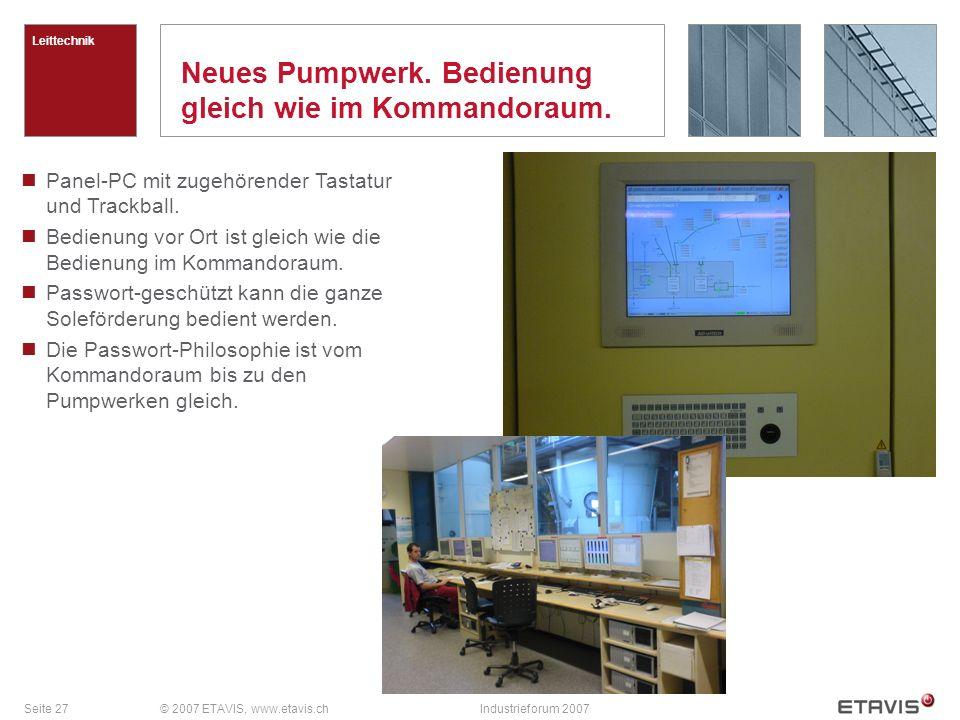 Seite 27© 2007 ETAVIS, www.etavis.chIndustrieforum 2007 Neues Pumpwerk. Bedienung gleich wie im Kommandoraum. Leittechnik Panel-PC mit zugehörender Ta