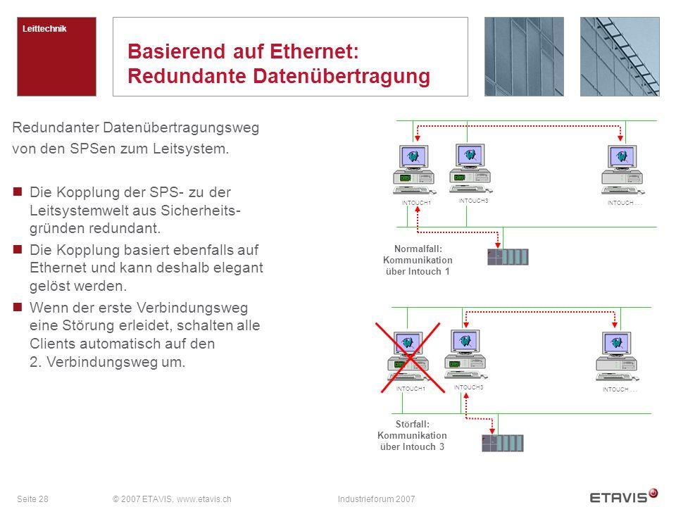 Seite 28© 2007 ETAVIS, www.etavis.chIndustrieforum 2007 Basierend auf Ethernet: Redundante Datenübertragung Leittechnik Redundanter Datenübertragungsw