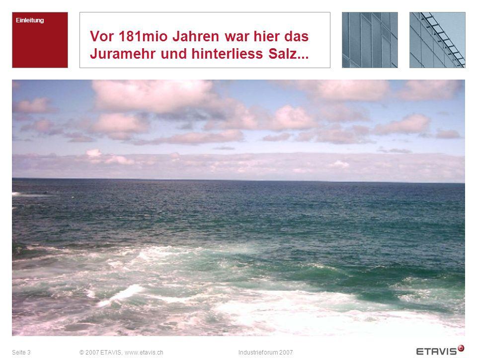 Seite 3© 2007 ETAVIS, www.etavis.chIndustrieforum 2007 Vor 181mio Jahren war hier das Juramehr und hinterliess Salz... Einleitung