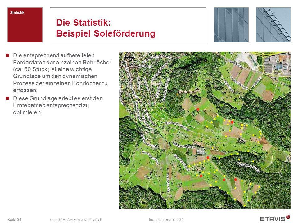 Seite 31© 2007 ETAVIS, www.etavis.chIndustrieforum 2007 Die Statistik: Beispiel Soleförderung Statistik Die entsprechend aufbereiteten Förderdaten der