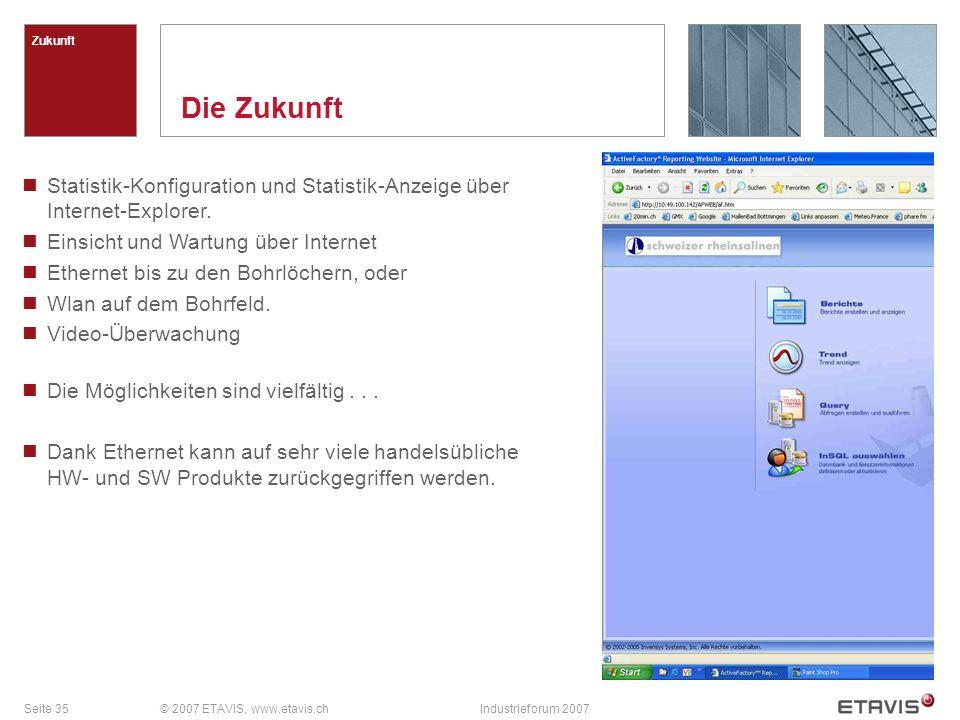 Seite 35© 2007 ETAVIS, www.etavis.chIndustrieforum 2007 Die Zukunft Zukunft Statistik-Konfiguration und Statistik-Anzeige über Internet-Explorer. Eins