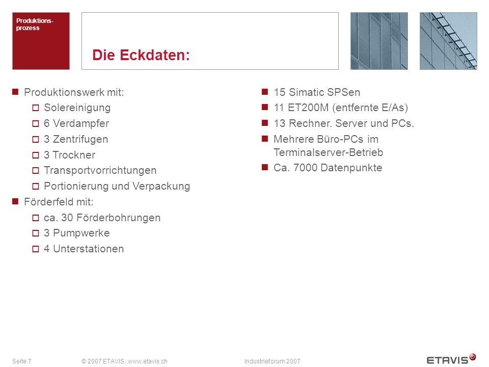 Seite 7© 2007 ETAVIS, www.etavis.chIndustrieforum 2007 Die Eckdaten: Produktions- prozess Produktionswerk mit: Solereinigung 6 Verdampfer 3 Zentrifuge