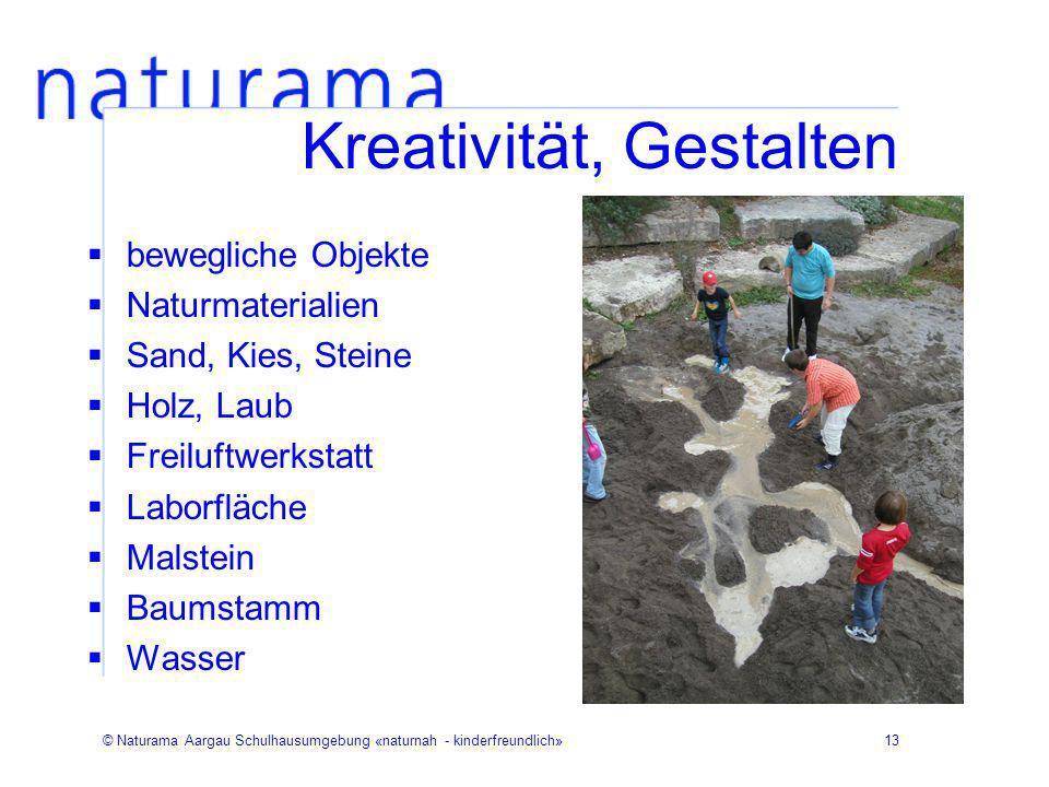 © Naturama Aargau Schulhausumgebung «naturnah - kinderfreundlich»13 Kreativität, Gestalten bewegliche Objekte Naturmaterialien Sand, Kies, Steine Holz