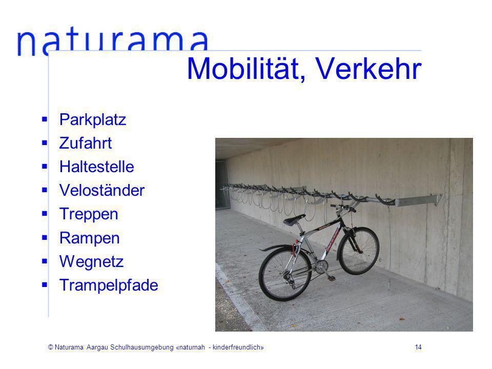 © Naturama Aargau Schulhausumgebung «naturnah - kinderfreundlich»14 Mobilität, Verkehr Parkplatz Zufahrt Haltestelle Veloständer Treppen Rampen Wegnet
