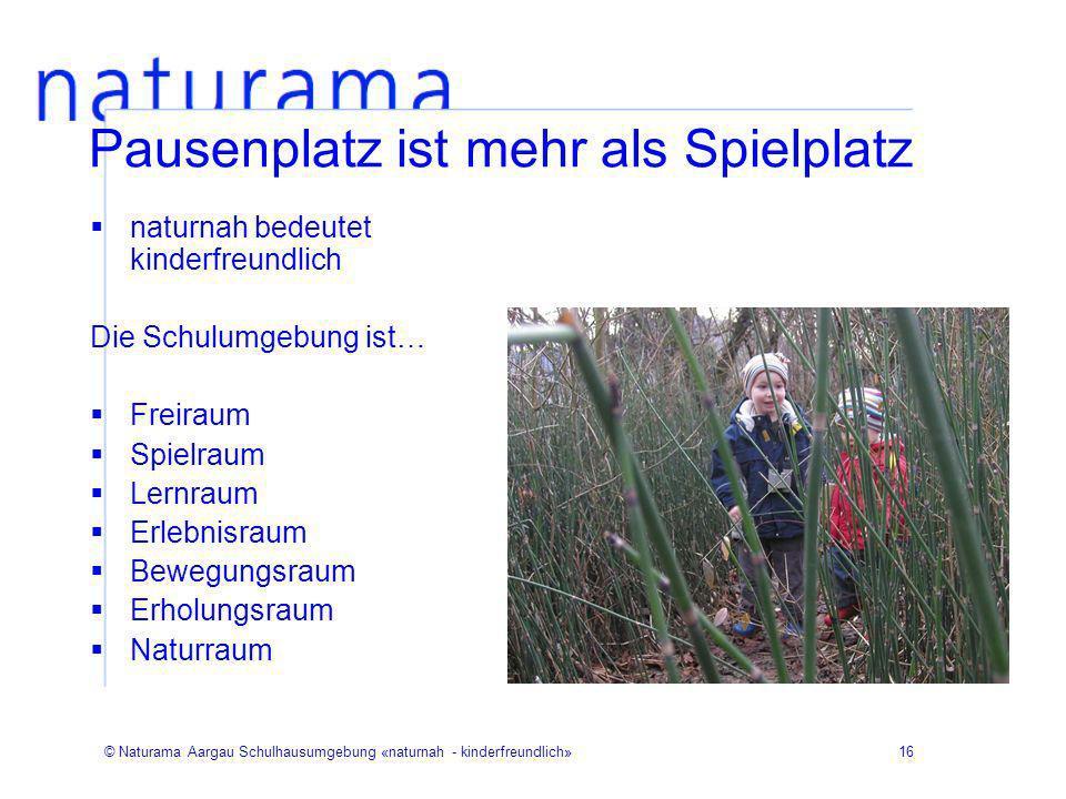 © Naturama Aargau Schulhausumgebung «naturnah - kinderfreundlich»16 Pausenplatz ist mehr als Spielplatz naturnah bedeutet kinderfreundlich Die Schulum