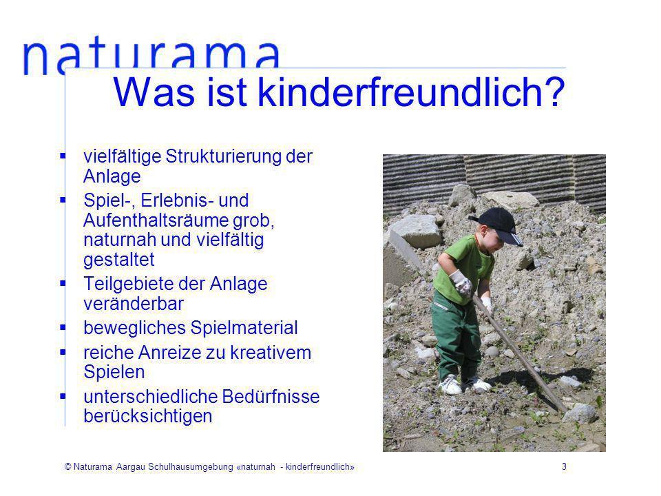 © Naturama Aargau Schulhausumgebung «naturnah - kinderfreundlich»3 Was ist kinderfreundlich? vielfältige Strukturierung der Anlage Spiel-, Erlebnis- u