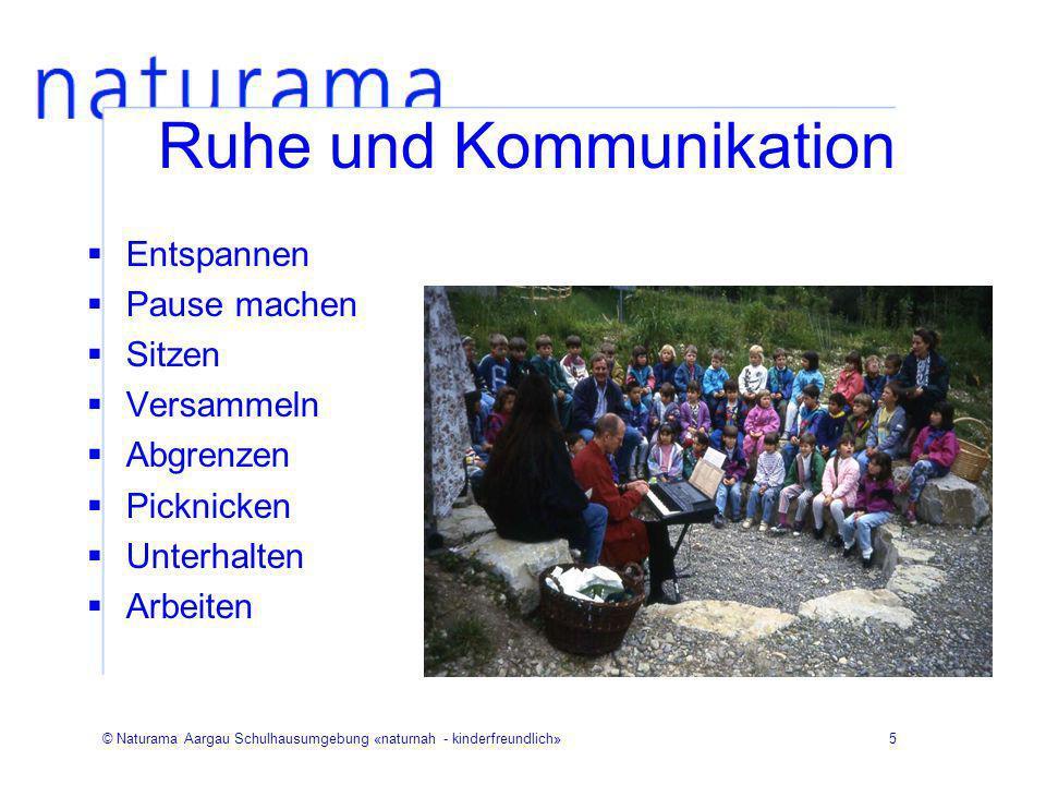 © Naturama Aargau Schulhausumgebung «naturnah - kinderfreundlich»6 Ruhe und Kommunikation Bank Baumstamm Stein, Mauer Arena Abgrenzungen Hecken Weidenbauten Nischen