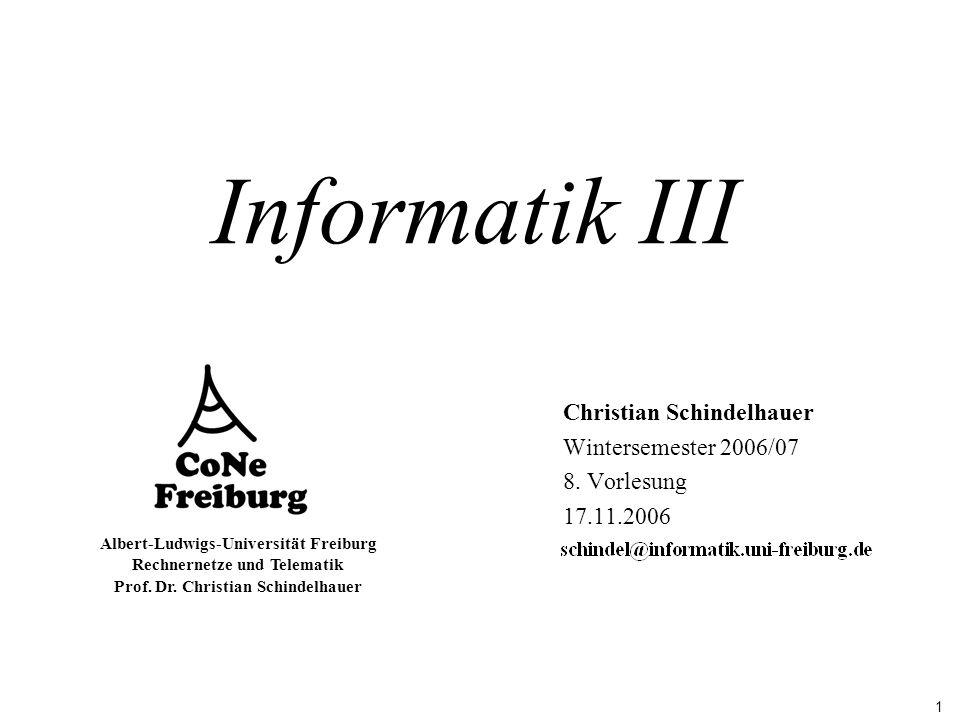 1 Albert-Ludwigs-Universität Freiburg Rechnernetze und Telematik Prof. Dr. Christian Schindelhauer Informatik III Christian Schindelhauer Wintersemest