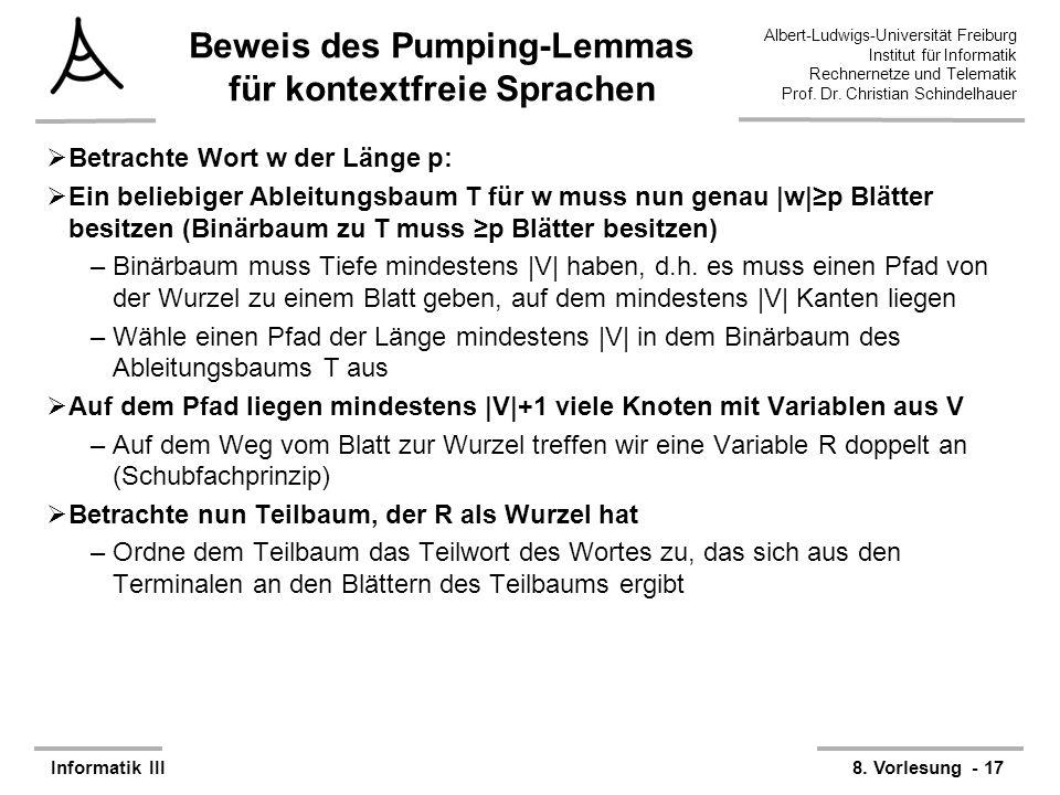 Albert-Ludwigs-Universität Freiburg Institut für Informatik Rechnernetze und Telematik Prof. Dr. Christian Schindelhauer Informatik III8. Vorlesung -