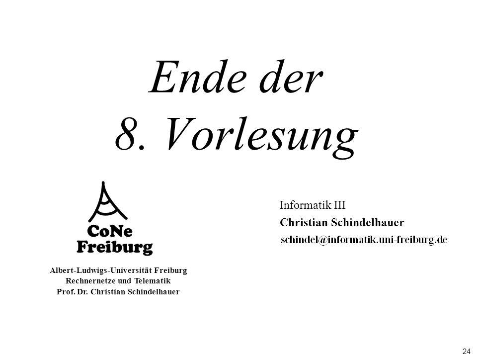 24 Albert-Ludwigs-Universität Freiburg Rechnernetze und Telematik Prof. Dr. Christian Schindelhauer Ende der 8. Vorlesung Informatik III Christian Sch