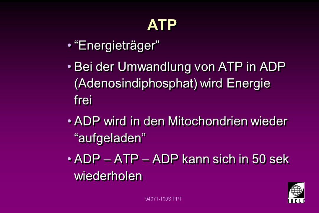 94071-100S.PPT ATP Energieträger Bei der Umwandlung von ATP in ADP (Adenosindiphosphat) wird Energie frei ADP wird in den Mitochondrien wieder aufgela