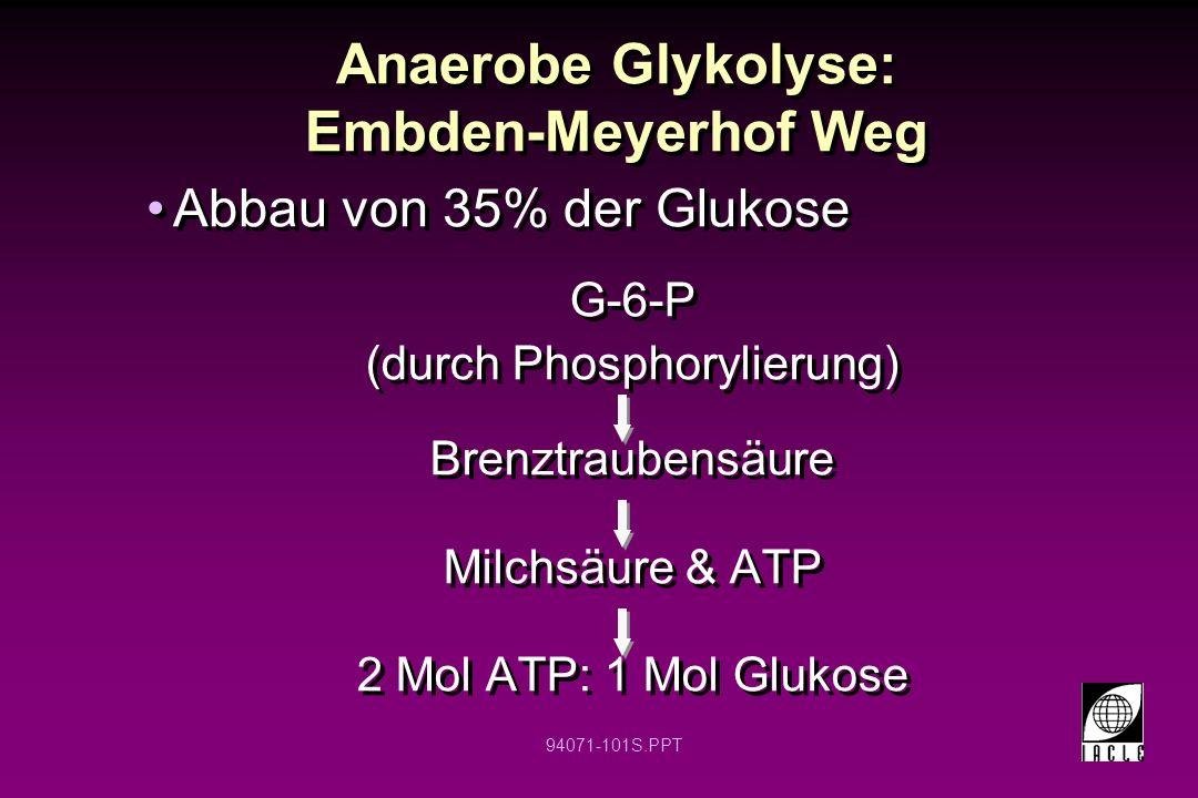 94071-101S.PPT Anaerobe Glykolyse: Embden-Meyerhof Weg G-6-P (durch Phosphorylierung) Brenztraubensäure Milchsäure & ATP 2 Mol ATP: 1 Mol Glukose G-6-