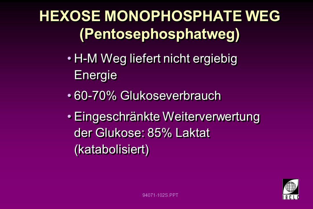 94071-102S.PPT HEXOSE MONOPHOSPHATE WEG (Pentosephosphatweg) H-M Weg liefert nicht ergiebig Energie 60-70% Glukoseverbrauch Eingeschränkte Weiterverwe