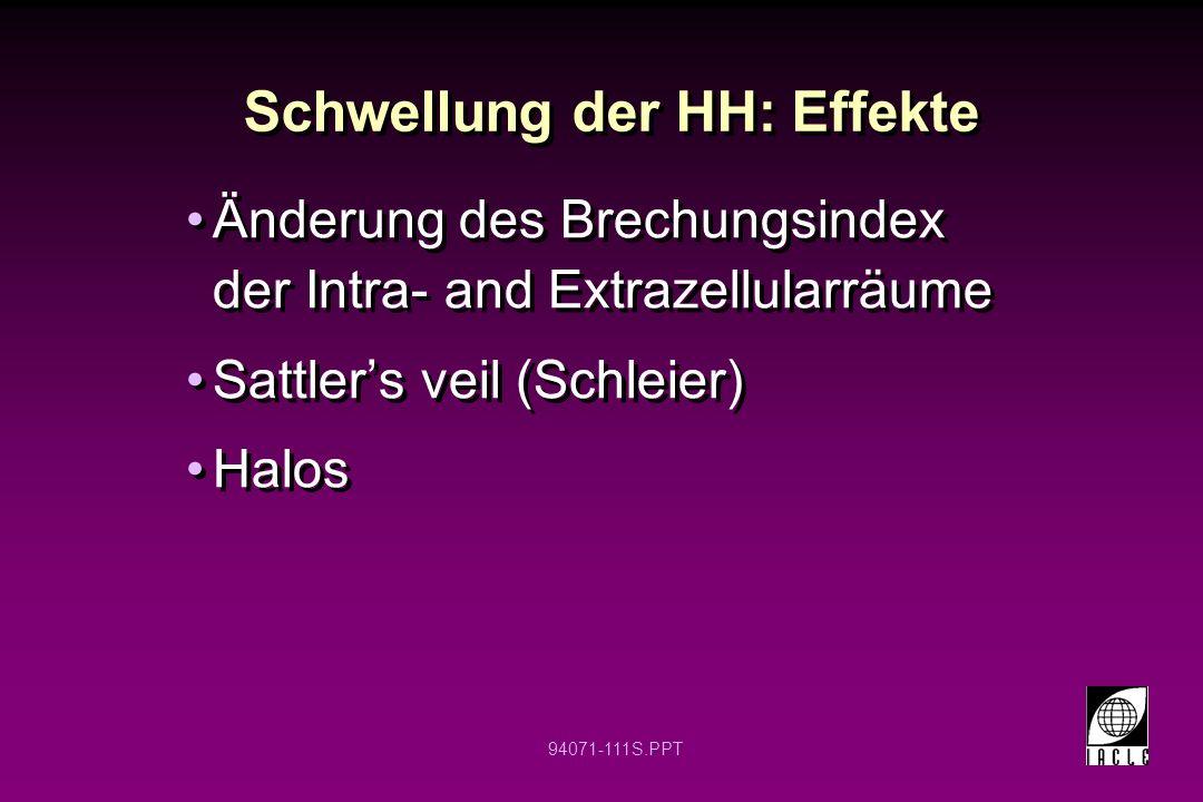 94071-111S.PPT Schwellung der HH: Effekte Änderung des Brechungsindex der Intra- and Extrazellularräume Sattlers veil (Schleier) Halos Änderung des Br