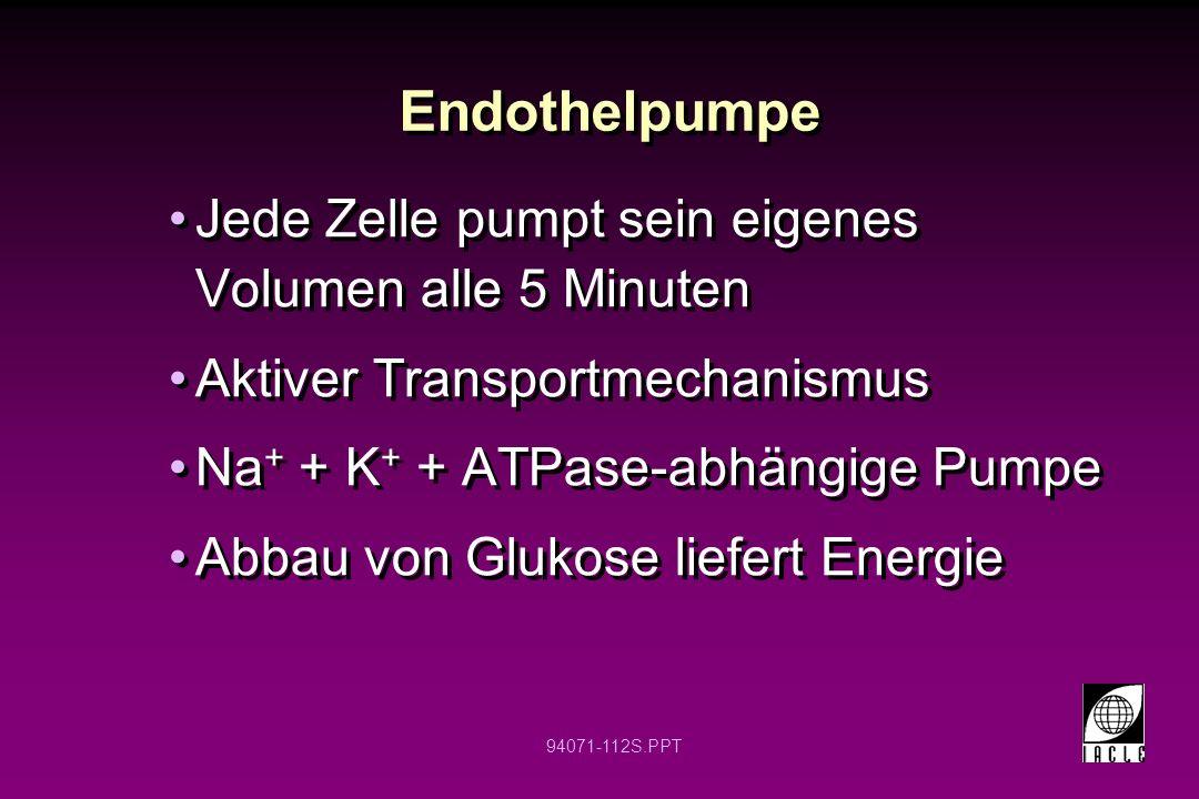 94071-112S.PPT Endothelpumpe Jede Zelle pumpt sein eigenes Volumen alle 5 Minuten Aktiver Transportmechanismus Na + + K + + ATPase-abhängige Pumpe Abb