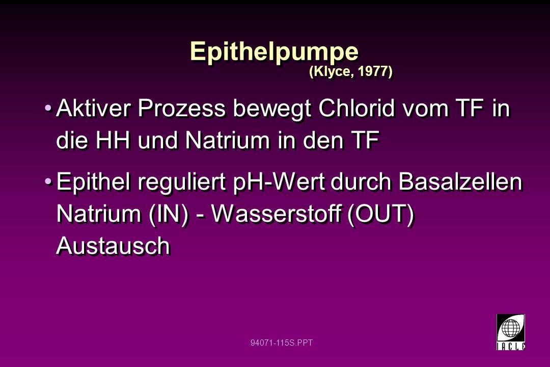 94071-115S.PPT Epithelpumpe Aktiver Prozess bewegt Chlorid vom TF in die HH und Natrium in den TF Epithel reguliert pH-Wert durch Basalzellen Natrium