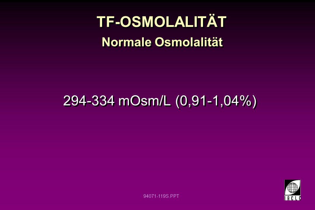 94071-119S.PPT TF-OSMOLALITÄT 294-334 mOsm/L (0,91-1,04%) Normale Osmolalität