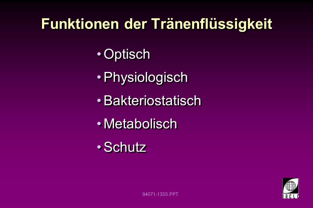 94071-135S.PPT Funktionen der Tränenflüssigkeit Optisch Physiologisch Bakteriostatisch Metabolisch Schutz Optisch Physiologisch Bakteriostatisch Metab