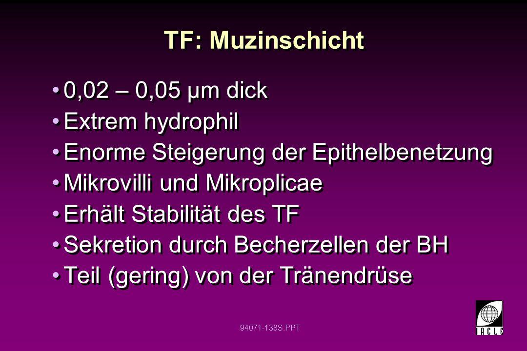 94071-138S.PPT TF: Muzinschicht 0,02 – 0,05 µm dick Extrem hydrophil Enorme Steigerung der Epithelbenetzung Mikrovilli und Mikroplicae Erhält Stabilit