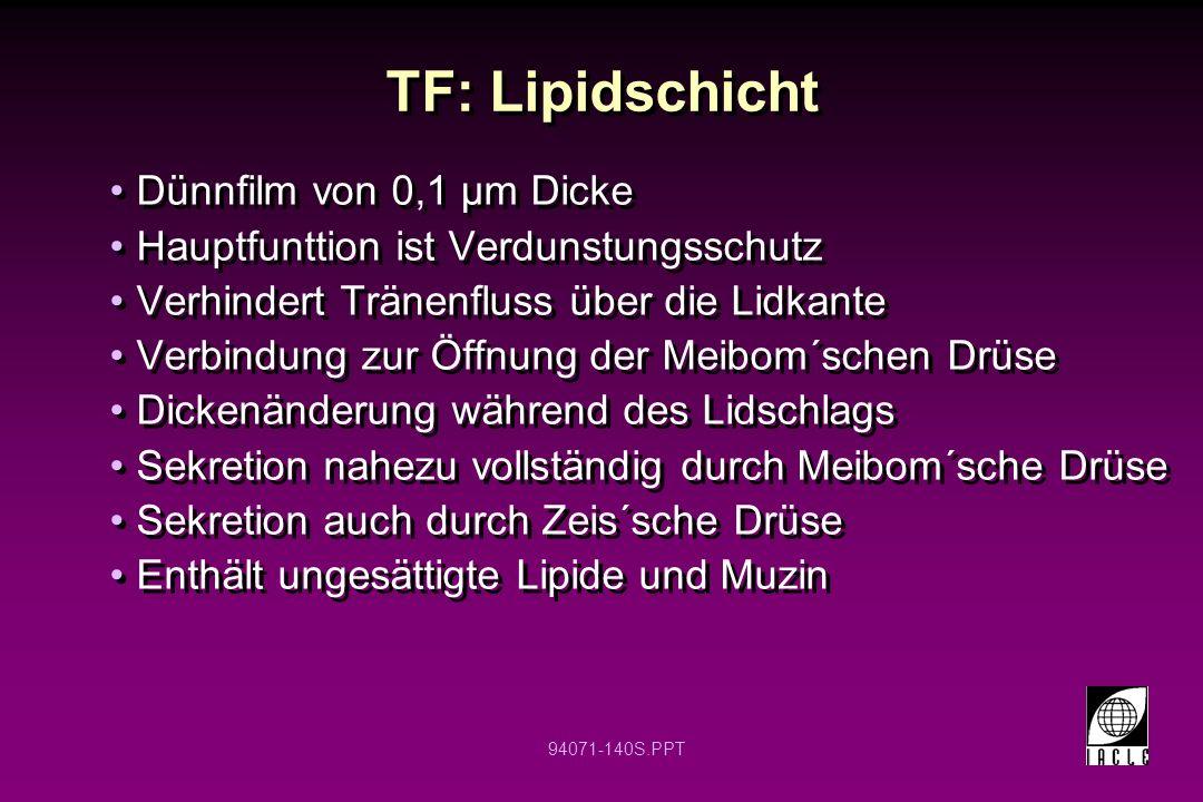 94071-140S.PPT TF: Lipidschicht Dünnfilm von 0,1 µm Dicke Hauptfunttion ist Verdunstungsschutz Verhindert Tränenfluss über die Lidkante Verbindung zur