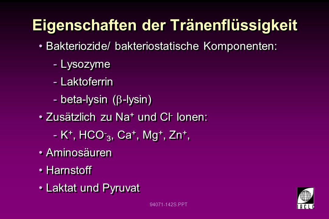 94071-142S.PPT Eigenschaften der Tränenflüssigkeit Bakteriozide/ bakteriostatische Komponenten: -Lysozyme -Laktoferrin -beta-lysin ( -lysin) Zusätzlic