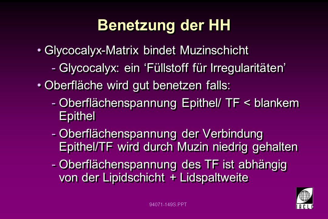 94071-149S.PPT Benetzung der HH Glycocalyx-Matrix bindet Muzinschicht -Glycocalyx: ein Füllstoff für Irregularitäten Oberfläche wird gut benetzen fall