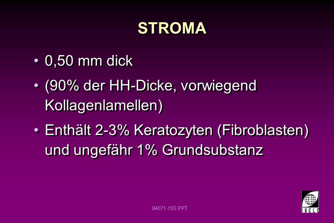 94071-15S.PPT 0,50 mm dick (90% der HH-Dicke, vorwiegend Kollagenlamellen) Enthält 2-3% Keratozyten (Fibroblasten) und ungefähr 1% Grundsubstanz 0,50