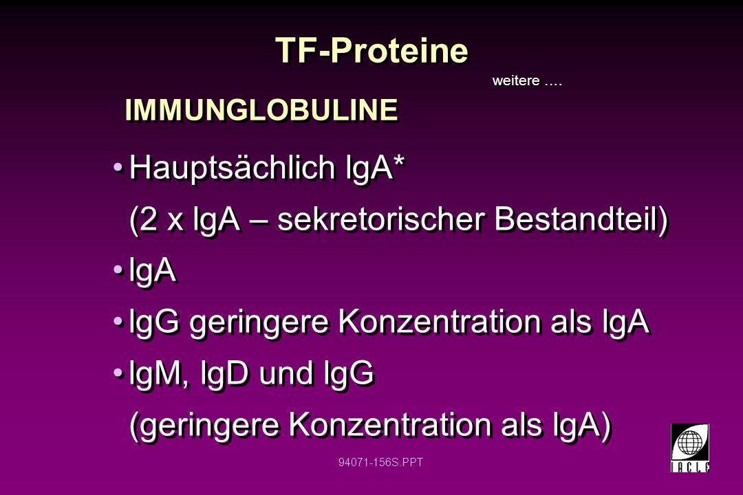 94071-156S.PPT TF-Proteine Hauptsächlich lgA* (2 x lgA – sekretorischer Bestandteil) lgA lgG geringere Konzentration als lgA lgM, lgD und lgG (geringe