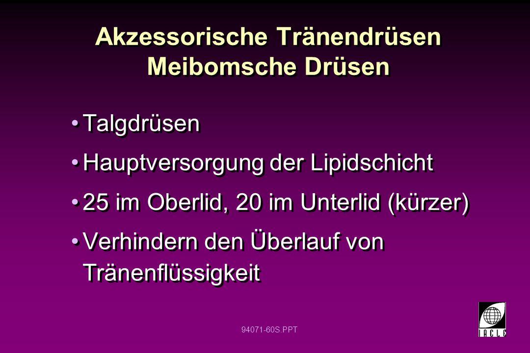94071-60S.PPT Akzessorische Tränendrüsen Meibomsche Drüsen Talgdrüsen Hauptversorgung der Lipidschicht 25 im Oberlid, 20 im Unterlid (kürzer) Verhinde