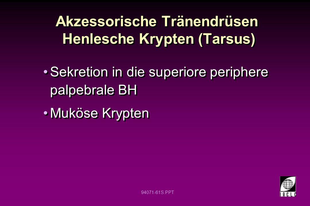 94071-61S.PPT Akzessorische Tränendrüsen Henlesche Krypten (Tarsus) Sekretion in die superiore periphere palpebrale BH Muköse Krypten Sekretion in die