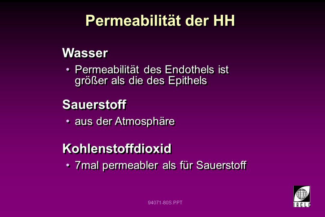 94071-80S.PPT Wasser Permeabilität des Endothels ist größer als die des Epithels Wasser Permeabilität des Endothels ist größer als die des Epithels Pe