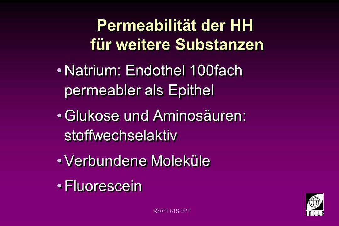 94071-81S.PPT Permeabilität der HH für weitere Substanzen Natrium: Endothel 100fach permeabler als Epithel Glukose und Aminosäuren: stoffwechselaktiv