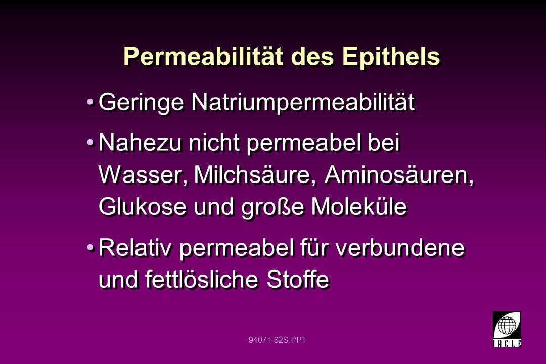 94071-82S.PPT Permeabilität des Epithels Geringe Natriumpermeabilität Nahezu nicht permeabel bei Wasser, Milchsäure, Aminosäuren, Glukose und große Mo
