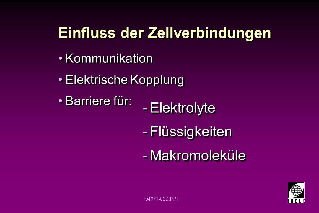 94071-83S.PPT Einfluss der Zellverbindungen Kommunikation Elektrische Kopplung Barriere für: Kommunikation Elektrische Kopplung Barriere für: -Elektro