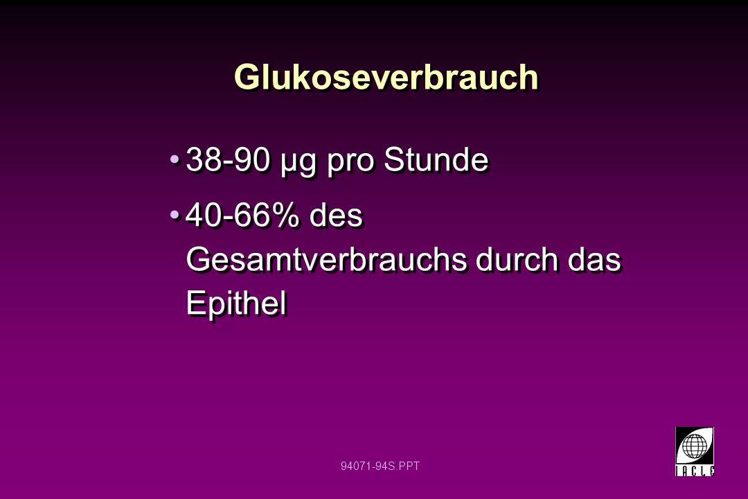 94071-94S.PPT Glukoseverbrauch 38-90 µg pro Stunde 40-66% des Gesamtverbrauchs durch das Epithel 38-90 µg pro Stunde 40-66% des Gesamtverbrauchs durch