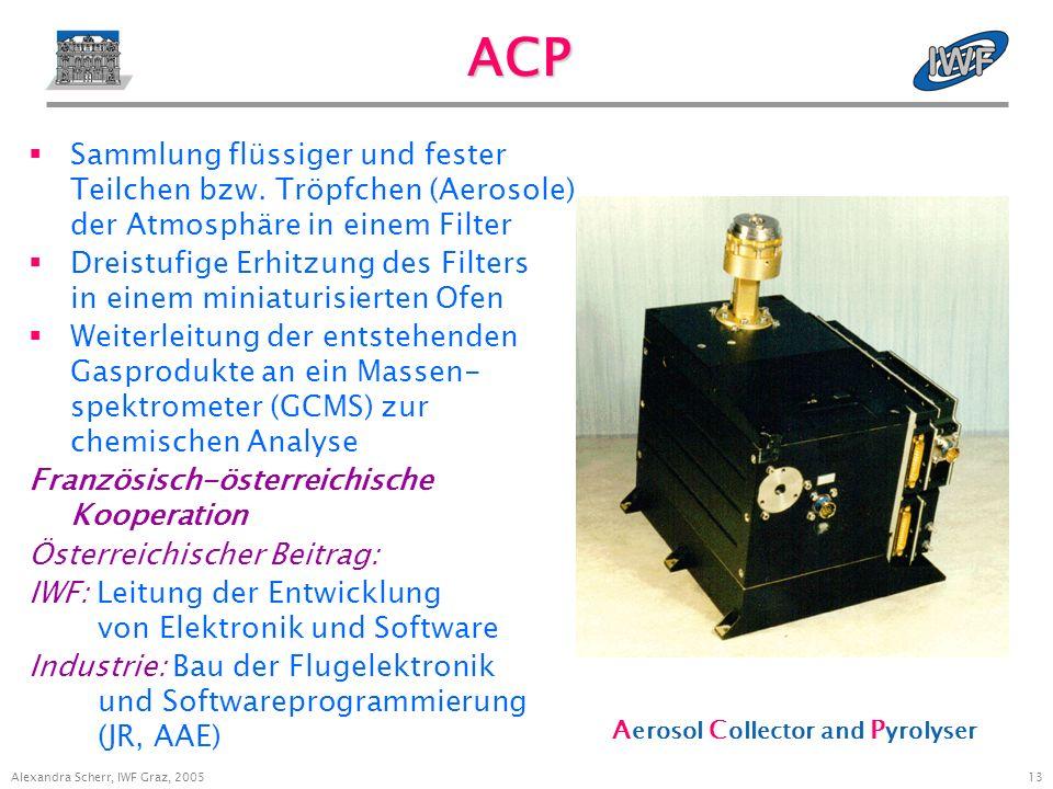 13 Alexandra Scherr, IWF Graz, 2005 ACP Sammlung flüssiger und fester Teilchen bzw.
