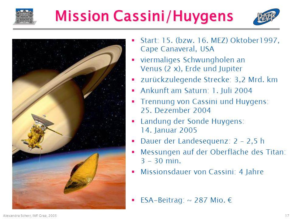 17 Alexandra Scherr, IWF Graz, 2005 Mission Cassini/Huygens Start: 15.