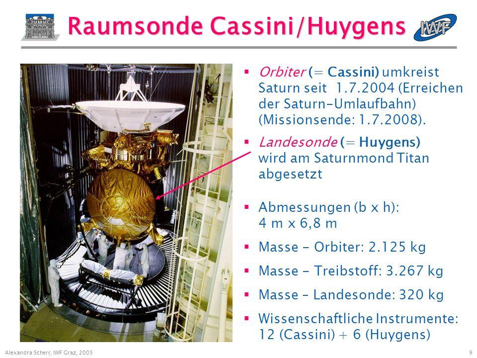 9 Alexandra Scherr, IWF Graz, 2005 Raumsonde Cassini/Huygens Orbiter (= Cassini) umkreist Saturn seit 1.7.2004 (Erreichen der Saturn-Umlaufbahn) (Missionsende: 1.7.2008).